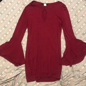 Red Flared long sleeve dress